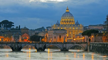 St. Peter's Basilica, Ponte Sant Angelo Bridge, Vatican. Rome