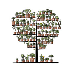 Art tree with plants in pots, sketch for your design