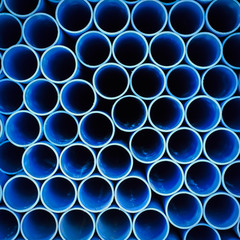 Blue plastic pipe