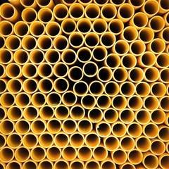 Yellow plastic pipe