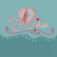 Decorative love heart card design