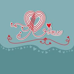 Decorative love heart card design
