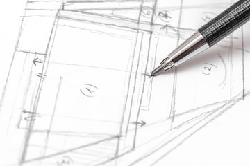 Architect Hand Drawing House Plan Sketch With Pencil