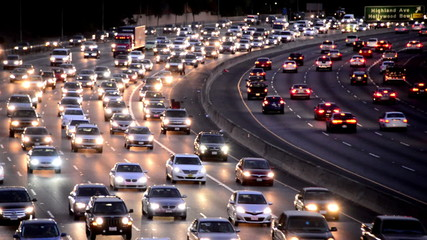 Evening Rush Hour Traffic on Busy Freeway in Los Angeles