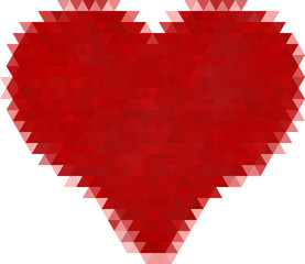 isolated on white red heart from triangles