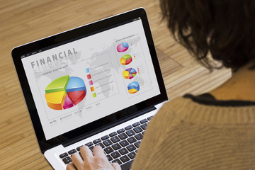 woman computer finances