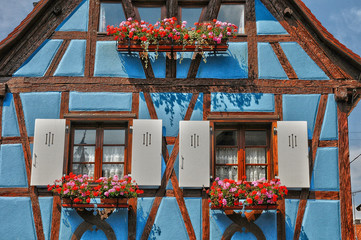France, Alsace, picturesque old old village of Eguisheim