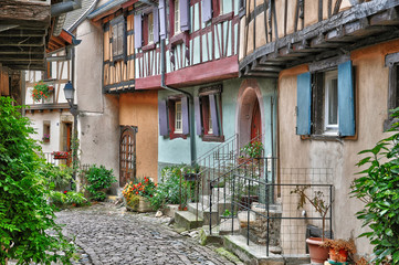 France, picturesque old house in Eguisheim in Alsace