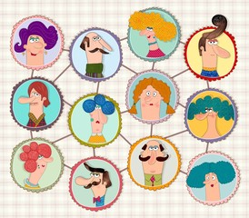 Cartoon version of social network