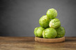 Fresh brussels sprouts on wooden table - 78821645