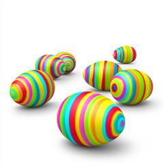 Ostereier, Ostern, Eier, bemalt, bunt, farbig, 3D, Easter Eggs