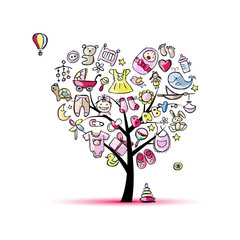Heart shape tree with toys for baby girl
