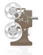 old retro vintage movie film projector vector illustration