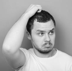 Portrait of funny cluelles man - Monocrome or black and white po
