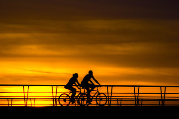 Bikers in the sunset