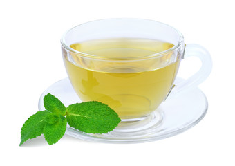 A cup of green tea with mint isolated on a white background.