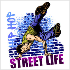 Hip hop dancer on grunge background