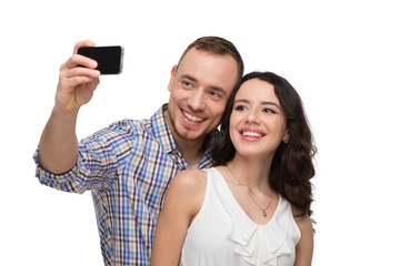 Lovers makeing selfie and smiling