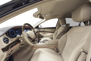 Car interior with steering wheel & ambient light