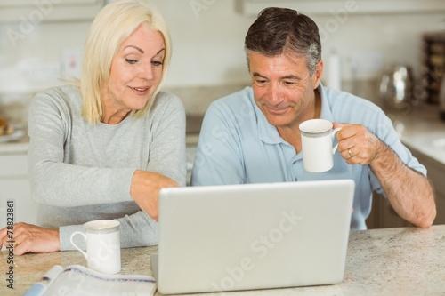canvas print picture Happy mature couple using laptop
