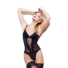 Fashionable sexy blonde woman posing in underwear