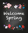 Spring flowers colorful vector greeting card