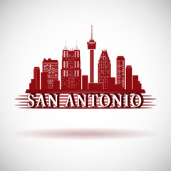 San Antonio Texas city skyline silhouette