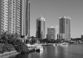 Surfers Paradise, Australia. Black and white.