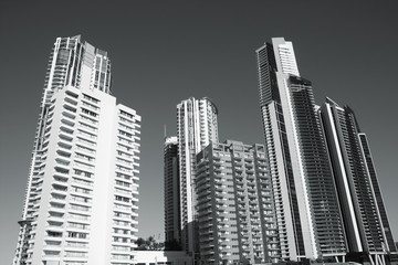 Gold Coast, Australia. Black and white.
