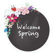 Welcome spring chalkboard style with flowers vector