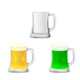 Set of glass mugs with beer