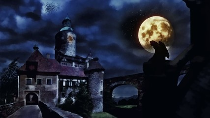 Dark castle during windy night.