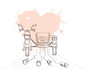 Graphics vector illustration -- wedding moto with sidecar