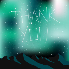 Thank you card, night time sky, stars.