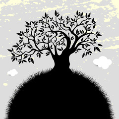 Olive tree silhouette, healthy life