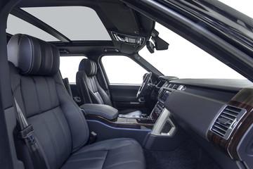 Car interior with black seats & steering wheel