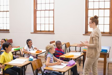 Teacher giving a lesson in classroom