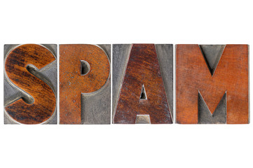 spam word in wood type