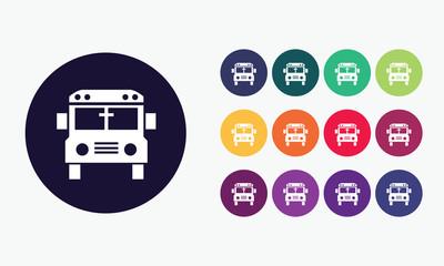 School bus icon. Transport symbol.