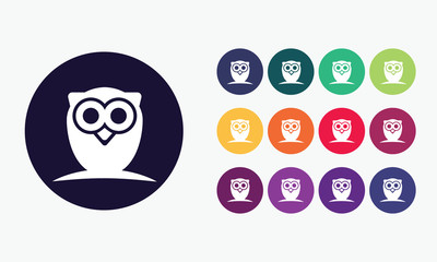Owl icon. Intelligence symbol.