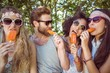 Hipster friends enjoying ice lollies - 78829089
