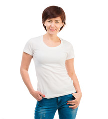 young woman in a white T-shirt and blue jeans