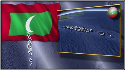 Maldives flag and map animation