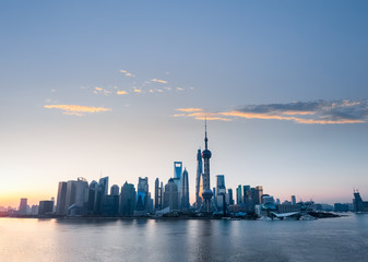 shanghai skyline with rosy clouds of dawn