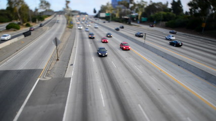Traffic on Busy Freeway in Los Angeles - Tilt Shift