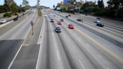Traffic on Busy Freeway in Los Angeles - Tilt Shift