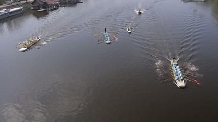 rowing race aerial