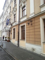 beautiful facade of the house in Lviv