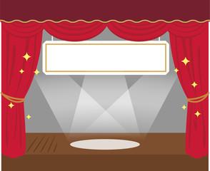 劇場の舞台と吊り看板