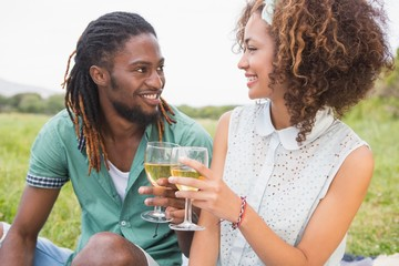Young couple on a picnic drinking wine